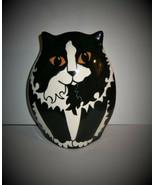 CAT VASE Cats By Nina 2001 Ceramic Black White Chubby Kitty N Lyman Vintage - $22.80