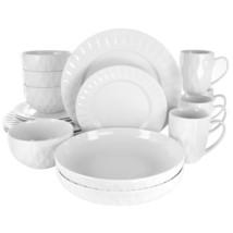 Elama Sienna 18 Piece Porcelain Dinnerware Set in White - $69.79