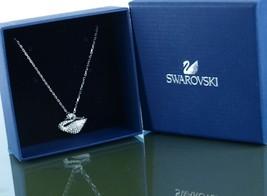 Auth Swarovski Chain w/ Swan Crystal Pendant Silver Tone Necklace Access... - $127.71