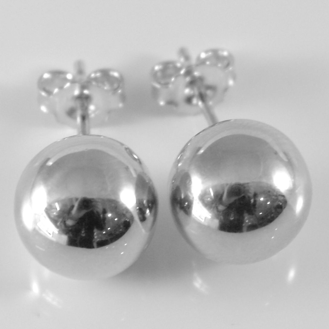 18K WHITE GOLD EARRINGS WITH BIG 10 MM BALLS BALL ROUND SPHERE, MADE IN ITALY