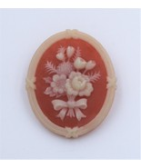 Vintage Avon Floral Resin Floral Flower Oval Brooch Pin - $9.89