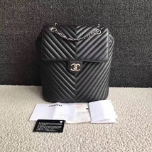 AUTHENTIC CHANEL BLACK CHEVRON QUILTED CALFSKIN LARGE URBAN SPIRIT BACKPACK SHW