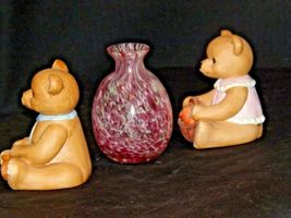HOMCO Bears and a blown glass Vase AA-191708 Vintage Collectible 3 Pieces image 4