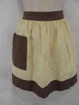 MCM Half Apron Cream Brown Pocket Waist Tie Retro - $6.92