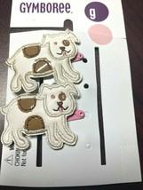Gymboree Puppy Love Line Barrette Clip Snap EUC Dog White W/ Pink Metal Vintage - $6.95