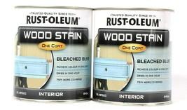 2 Cans Rust-Oleum 32 Oz Wood Stain One Coat 310399 Blue Interior Liquid  - $29.99