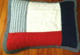 Red White Blue Patch Pottery Barn Kids Sean Quilted Sham Standard Pillow 20x26 - $23.72