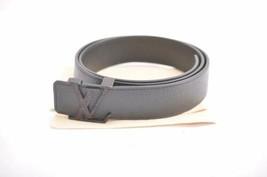 LOUIS VUITTON Taiga LV Initial Ceinture Men's Belt Black Size 85/34 M689... - $320.00