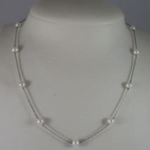 SOLID 18K WHITE GOLD NECKLACE WITH FRESHWATER WHITE PEARL MADE IN ITALY 17,91 IN image 1