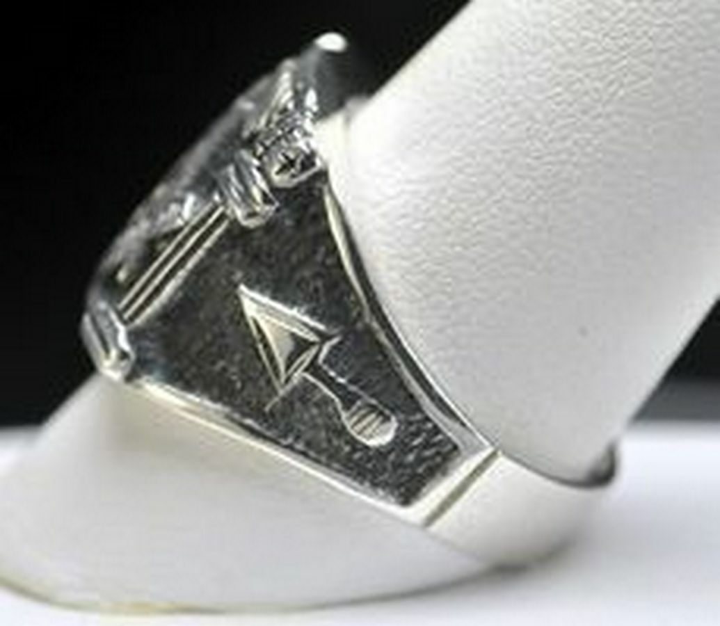STERLING SILVER Sapphire MASONIC Mason RING Freemason Jewelry freemasonry New
