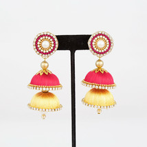 HANDMADE SILK THREAD MULTI LAYERED CLEAR STONE JHUMKAS WITH STUDS - $6.93