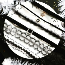 2019 New Japanese Variety Of Black Lace Stars Pendant Short Clavicle Cha... - $9.37