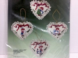New Vintage Bucilla Christmas 82336 Kit 4 NIP Ornaments Raggedy Anne & Andy Love - $12.16
