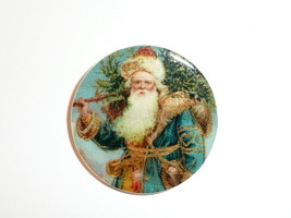 "Old Time Santa MOP Mother of Pearl Shank Button 1+3/8""  Carrying Christm... - $11.87"