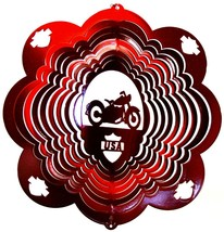 12 in stainless steel red Motorcycle USA 3D hanging yard wind spinner, spinners - $32.00