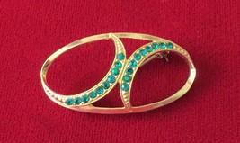 Vintage 1970's Gold Tone & Green Rhinestone Brooch Pin - $4.99