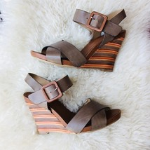KLUB NICO Anthropologie Layered Wood Wedge Sandal Brown Leather Strappy ... - $42.08