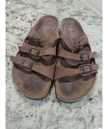 Women's Birkenstock Florida Mocha Brown Birkibuc soft footbed sandals 8 ... - $48.62