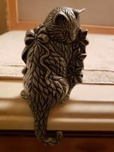 Silver Metal Pewter Kitty Cat Mantel Shelf Hook Stocking Hanger Free Shi... - $21.75