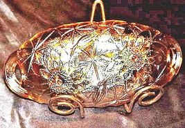 """Goldstone Carnival Glass Lily Pond Pattern 9"""" Oval Relish BowlAA18-1363Vintage image 5"""