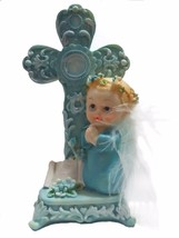 Baptism Christening First Communion Praying Angel Boy Next to a Cross wi... - $9.85