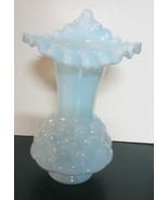 Vintage Fenton Jacqueline  Blue Opaline  Crimped Vase - $57.00