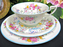 Royal Worcester  Enameled June Trio Beaded Victorian's Tea Cup And Saucer Duo - $48.62