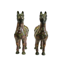 Chinese Pair Brown Enamel Cloisonne Metal Horse Figures cs4089 - $6,895.00