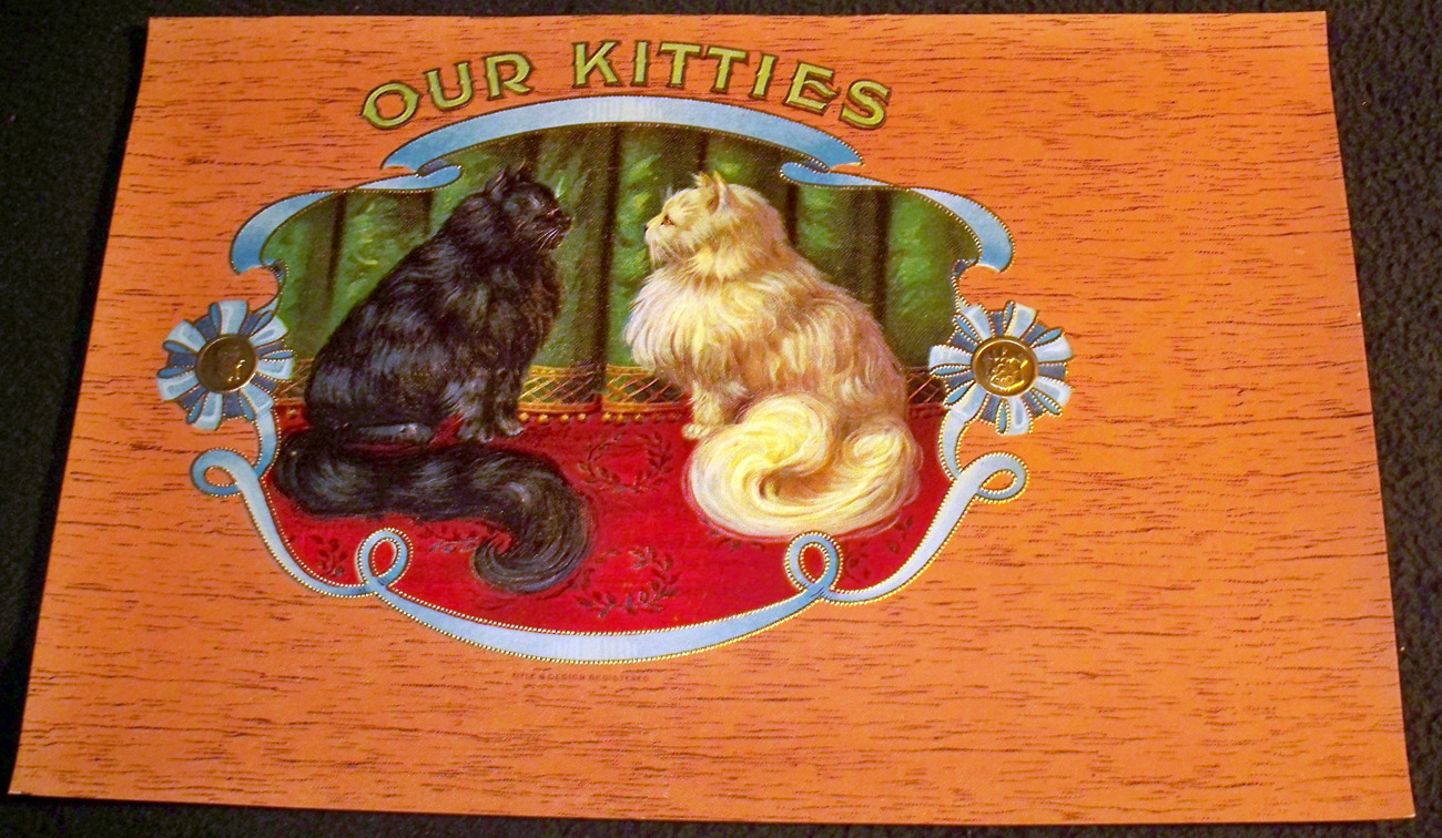 Kitty Stare Down! Our Kitties Embossed Inner Cigar Label, 19