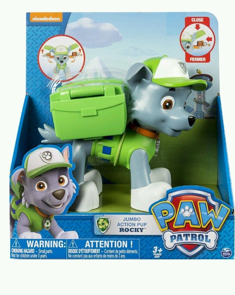 Paw Patrol Big Action Pup Toy Rocky Christmas Gift Green Nick Jr Puppy Dog Toy