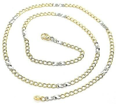 Gold Chain Yellow White 750 18K, 50 CM, Groumette Flat And Infinity, 3 MM