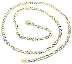 Gold Chain Yellow White 750 18K, 50 CM, Groumette Flat And Infinity, 3 MM image 1