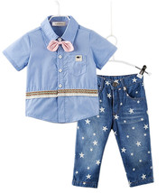 StylesILove Handsome Kid Boy Blue Shirt with 3D Pink Bowtie and Star Pri... - $18.99
