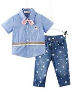 StylesILove Handsome Kid Boy Blue Shirt with 3D Pink Bowtie and Star Pri... - $18.99