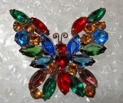 Vintage D&E Juliana Butterfly Multi-Color Crystal Rhinestone Brooch - $125.00