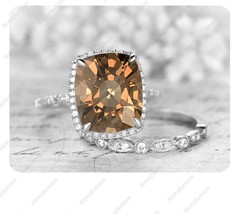 9mm Cushion Smoky Quartz 14k White Gold Over Art Deco Wedding Bridal Ring Set - $119.99