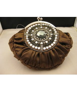 Evening Bag Bronze Satin With White And Multico... - $19.00