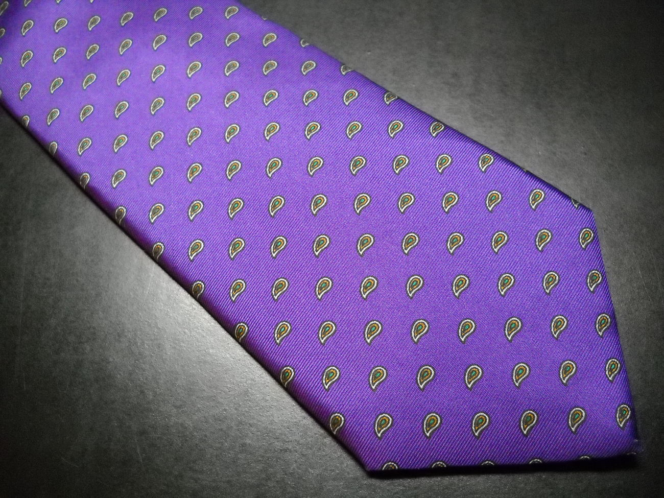 Chaps Ralph Lauren Neck Tie Bright Purple with Repeating Paisley