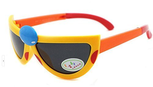 Lovely Seven-Spotted Ladybugs Folding Baby Sunglasses-Yellow Frame