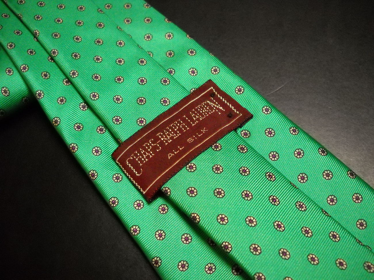 Chaps Ralph Lauren Neck Tie Bright Green with Repeating Small Blooms