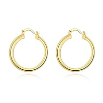 Gorgeous Pair 14K Yellow Gold Textured Brushed Thin Hoop Earrings - $9.79
