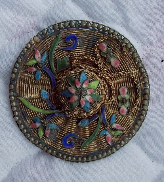 Vintage Enamel Floral Sombrero  Brooch
