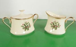 Lenox Dimension HOLIDAY Creamer and Sugar Bowl with Lid Holly Berry - $148.45
