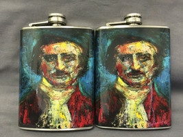Set of 2 Edgar Allan Poe Horror D397 Flasks 8oz Stainless Steel Drinking... - $11.05