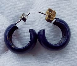 Vintage Navy Blue Hoop Stick Earrings - $5.00