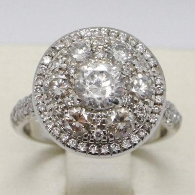 18K WHITE GOLD BAND FLOWER BUTTON RING WITH DIAMONDS, 1.69 CARATS, ENGAGEMENT