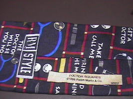 Ralph Marlin RM Style Silk Neck Tie Doctor Squares image 2