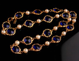 "Vintage sapphire crystal statement necklace - 24"" signed designer jewelr... - $125.00"