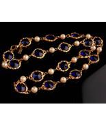"Vintage sapphire crystal statement necklace - 24"" signed designer jewelr... - $125.00"