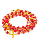 3-4 MM Natural Ruby With Cross Charms Gold Plated Rosary Chain Necklace - $22.57+